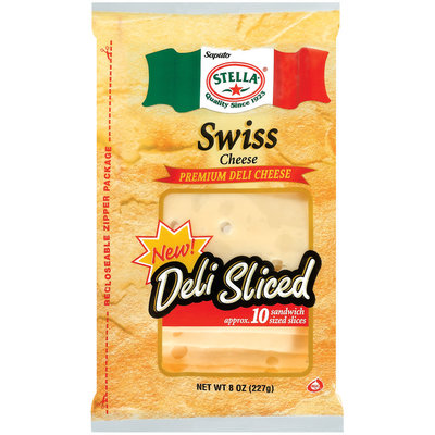 Stella® Swiss Premium Deli Sandwich Sliced Cheese 8 Oz Bag
