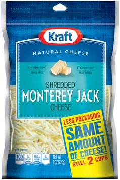 Kraft Natural Cheese Monterey Jack Shredded Cheese 8 Oz Peg