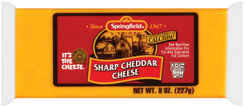 Springfield Sharp Cheddar Cheese 8 Oz Wrapper