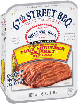 67th Street BBQ™ Sliced Seasoned Pork Shoulder Brisket with Sauce 16 oz. Tray