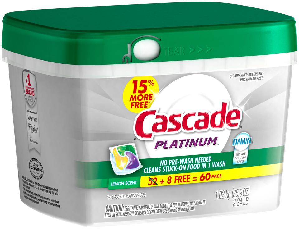 Cascade Platinum ActionPacs Dishwasher Detergent Lemon Burst 60 Ct BONUS