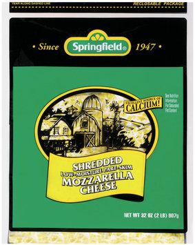 Springfield Mozzarella Shredded Low-Moisture Part-Skim Cheese 32 Oz Bag