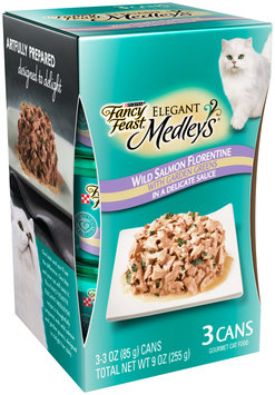 Purina Fancy Feast Elegant Medley's Wild Salmon Florentine Cat Food 3-3 oz. Cans