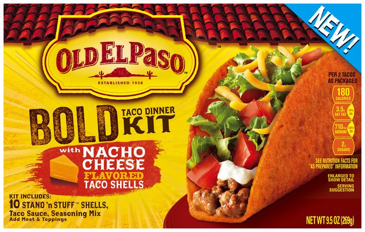 Old El Paso® Stand 'n Stuff™ Bold Taco Dinner Kit with Nacho Cheese Flavored Taco Shells 9.5 oz. Box