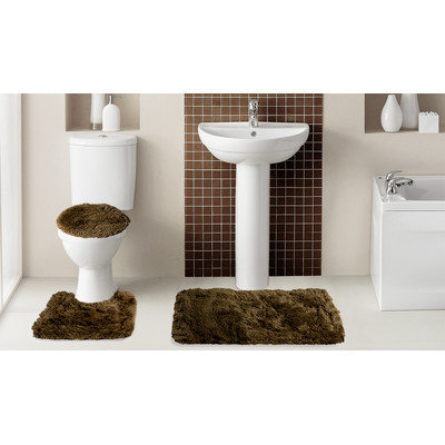 Popular Bath Products Fluff3 Piece Bath Rug Set, Chocolate