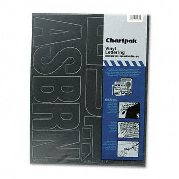 Chartpak Press-On Vinyl Uppercase Letters, 4 High, Black
