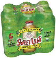 SWEET LEAF USDA-CERTIFIED ORGANIC ICED TEA, Mint and Honey Green Tea 16-ounce glass bottles (Pack of 6)