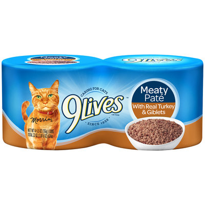 9Lives Meaty Pate with Real Turkey & Giblets Wet Cat Food, 4/5.5-Ounce Cans (Pack of 6)