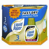 Liquid Paper 5643115 Fast Dry Correction Fluid- 22 ml Bottle- White- 3/Pack
