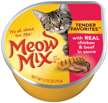 Meow Mix Tender Favorites with Real Chicken & Beef in Sauce Wet Cat Food, 2.75-Ounce Cup