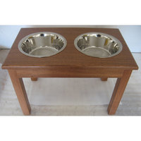 Classic Pet Beds 2-Bowl Traditional Style Pet Diner in Mahogany - Size: Small