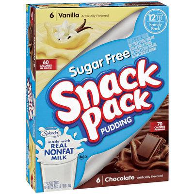 SNACK PACK Sugar Free Vanilla & Chocolate 12 Ct Pudding 39 OZ BOX