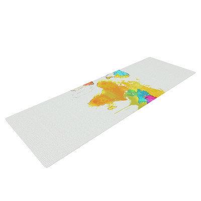 Kess Inhouse World Map by Oriana Cordero Rainbow Yoga Mat