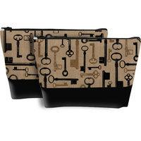 Blossom Boutique 2 Piece Burlap Cosmetic Case Set