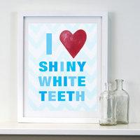 Cici Art Factory I Heart Shiny White Teeth Print Art Color: Blue