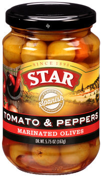 Star® Tomato & Peppers Marinated Olives 5.75 oz. Bottle