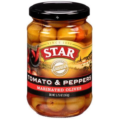 Star® Tomato & Peppers Marinated Olives 5.75 oz. Bottle