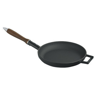 Lava Cookware Signature Enameled Cast-Iron French Skillet, 9, Black Obsidian