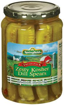 Springfield Dill Spears Zesty Kosher  Pickels  24 Fl Oz Jar