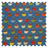 Stwd Pirate Ships Fabric by the Yard Color: Blue