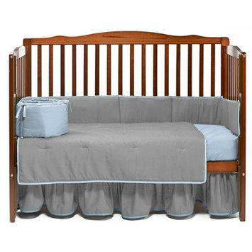 Baby Doll Bedding Solid 4 Piece Crib Bedding Set Color: Gray/Blue
