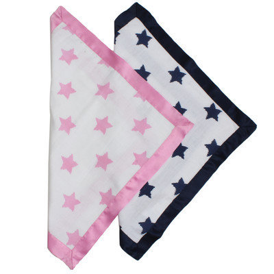 Bacati Stars Ikat Muslin Security Blanket Color: Pink / Aqua