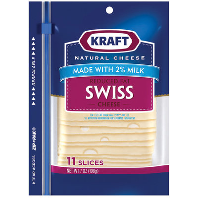 Kraft Reduced Fat Made With 2% Milk Swiss Cheese Slices 11 Ct