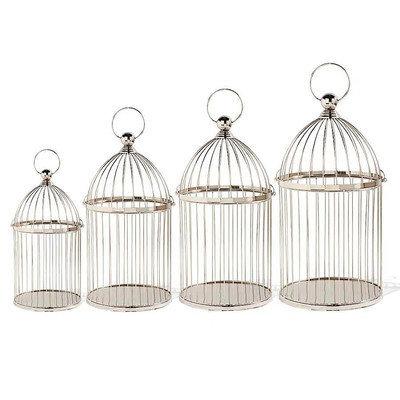 K And K Interiors 4 Piece Metal Birdcages with Handle