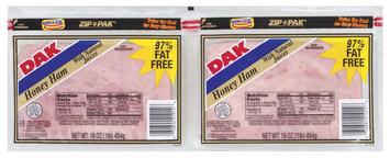 Dak W/Natural Juices 16 Oz Ham Honey Sliced 97% Fat Free 2 Pk Zip Pak