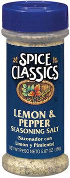 Spice Classics Lemon & Pepper Seasoning Salt 5.87 Oz Shaker