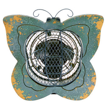 Decoflair Figurine Butterfly Wood Fan