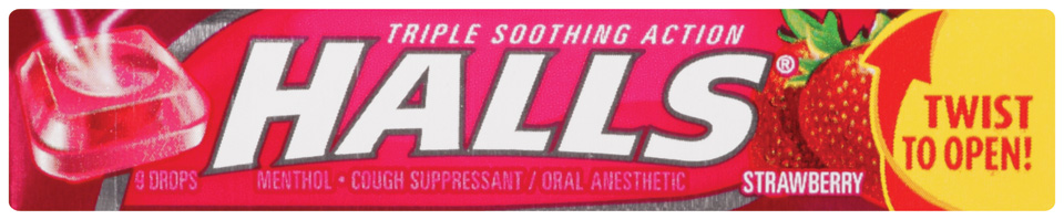 Halls® Strawberry Cough Suppressant/Oral Anesthetic Menthol Drops 9 ct Pack