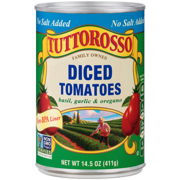 Tuttorosso® No Salt Added Basil, Garlic & Oregano Diced Tomatoes 14.5 oz. Can