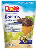 Dole Raisins 100% Natural California Seedless Raisins 12 Oz Stand Up Bag