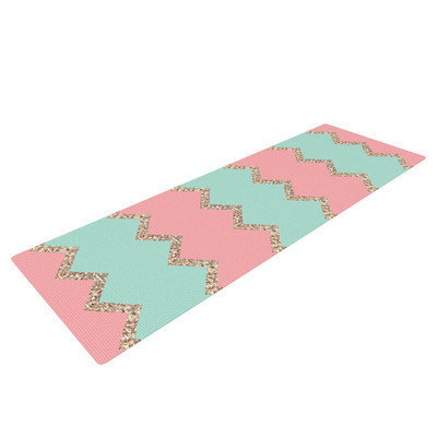 Kess Inhouse Avalon Soft Coral and Mint Chevron by Monika Strigel Yoga Mat