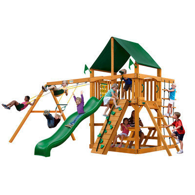 Gorilla Playsets Playground Equipment. Chateau II with Amber Posts and Sunbrella Canvas Forest Green Canopy Cedar Playset