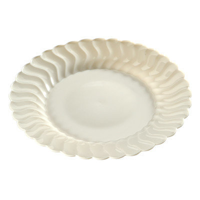 Fineline Settings, Inc Flairware Round Rippled Disposable Plastic Dinner Plate (144/Case), Bone
