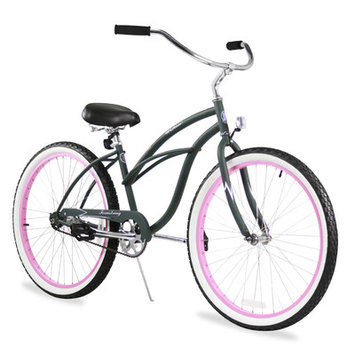Firmstrong Urban Lady Limited Single Speed, Army Green w/ Pink Rims - Women's 26