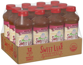 SWEET LEAF USDA-CERTIFIED ORGANIC ICED TEA, Raspberry 16-ounce plastic bottles