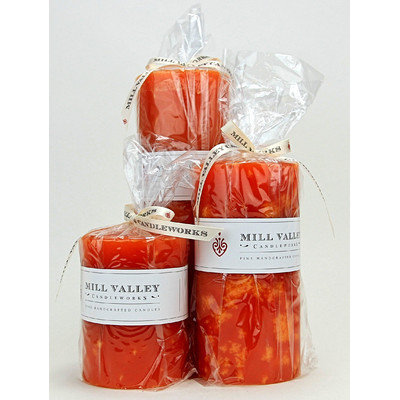 Mill Valley Candleworks 3 Piece Mango Citrus Scented Pillar Candle Set Size: 4