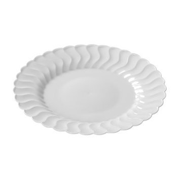 Fineline Settings, Inc Flairware Round Rippled Disposable Plastic Dinner Plate (180/Case), White