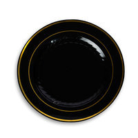 Fineline Settings, Inc Silver Splendor Plate (Pack of 120), 10 W x 10 D, Black with Gold Accent