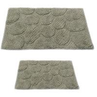 Textile Decor Castle 2 Piece 100% Cotton Palm Spray Bath Rug Set, 34 H X 21 W and 40 H X 24 W, Light Sage