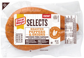 Oscar Mayer Selects Roasted Peppers & Onions Uncured Pork Sausage 13 oz. Pack