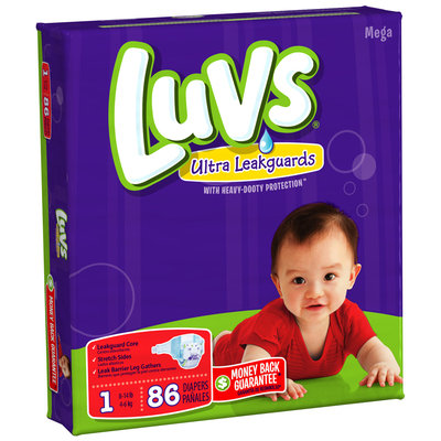 Luvs with Ultra Leakguards Mega Pack Size 1 Diapers 86 ct