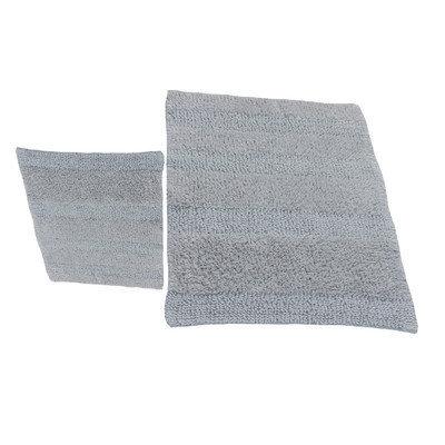 Textile Decor Castle 2 Piece 100% Cotton Wide Cut Reversible Bath Rug Set, 24 H X 17 W and 34 H X 21 W, Silver