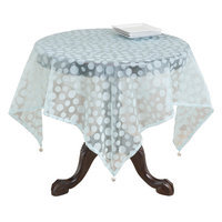 Saro Flocked Dot Design Organza Table Topper