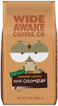 Wide Awake Coffee Company Decaf 100% Colombian Light Ground Coffee 12 Oz Stand Up Bag