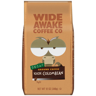 Wide Awake Coffee Company Decaf 100% Colombian Light Ground Coffee 12 Oz Stand Up Bag