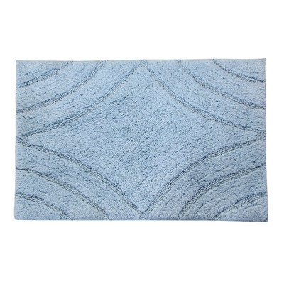 Textile Decor Castle 100% Cotton Diamond Spray Latex Back Bath Rug, 34 H X 21 W, Light Blue